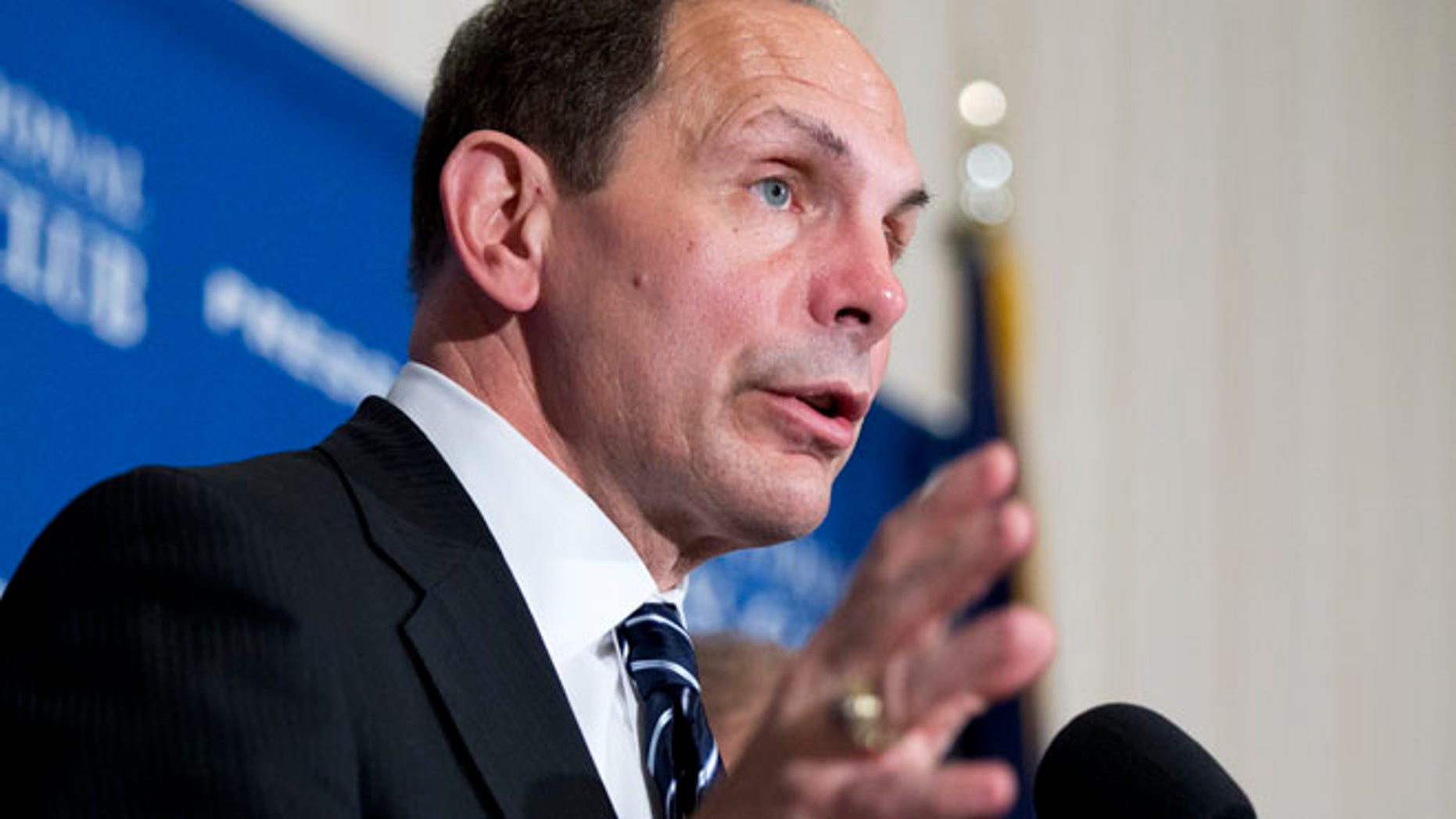 Nov. 7, 2014: Veterans Affairs Secretary Robert McDonald speaks about his efforts to improve services for veterans during a news conference at the National Press Club in Washington. (AP)