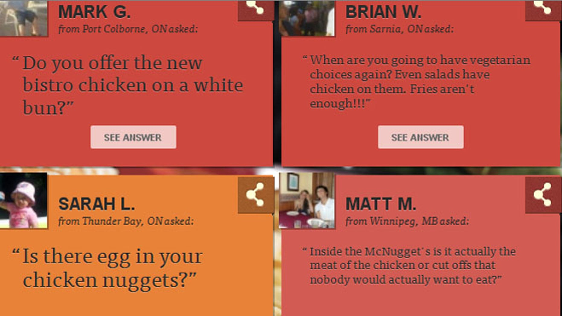 Questions for McDonald's website, Our Food, Your Questions.