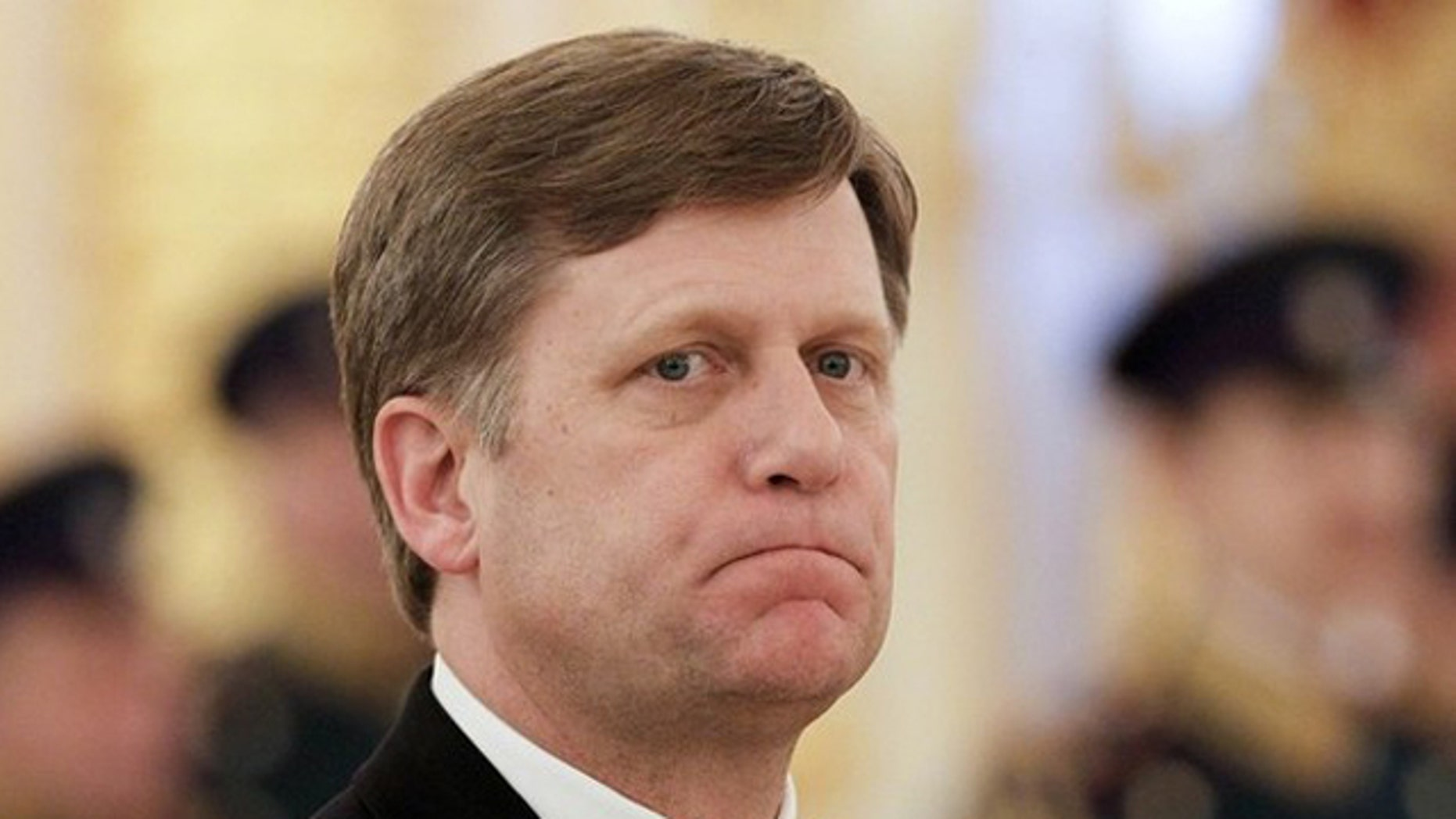 Feb. 22, 2012: American Ambassador to Russia Michael McFaul looks on during an official ceremony to present his diplomatic credentials in Moscow's Kremlin.