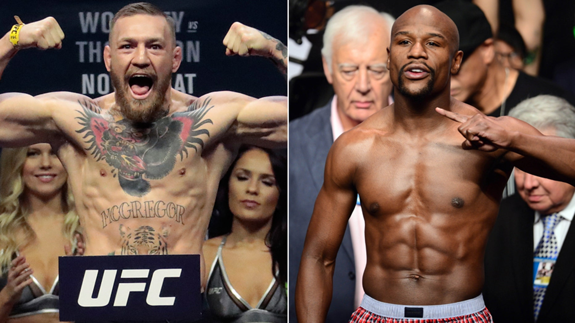 Although there is no deal for a fight yet, UFC Lightweight Champion Conor McGregor, left, and boxing legend Floyd Mayweather, Jr., have been trash-talking each other.