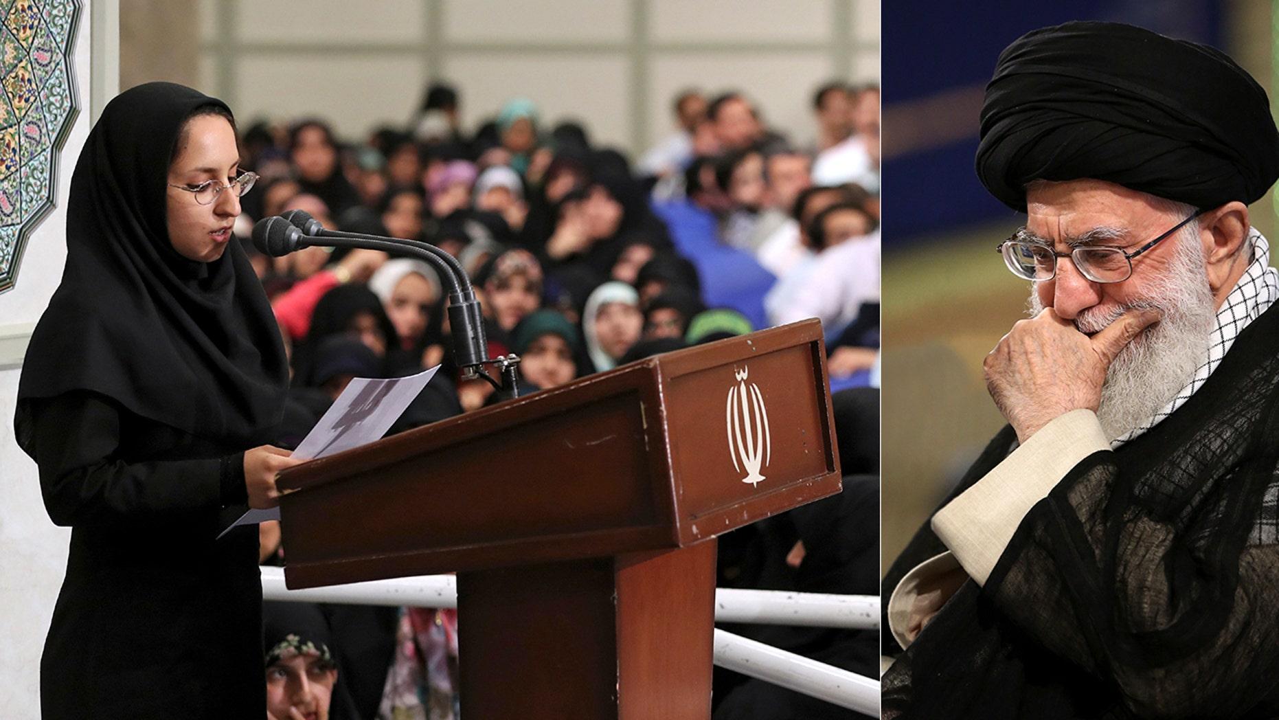 Sahar Mehrabi, left, reads her speech during a meeting with Supreme Leader Ayatollah Khamenei in Tehran, Iran.