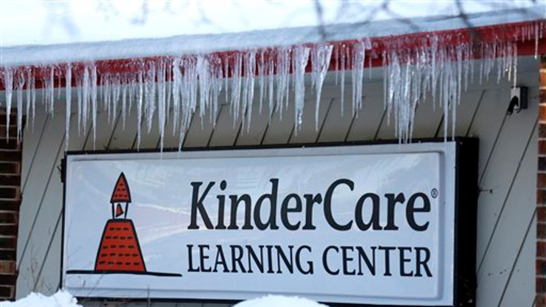 Icicles line the exterior of KinderCare Learning Center on East Palatine Road, Thursday, Feb. 5, 2015, in Palatine, Ill. (AP Photo/Nam Y. Huh)