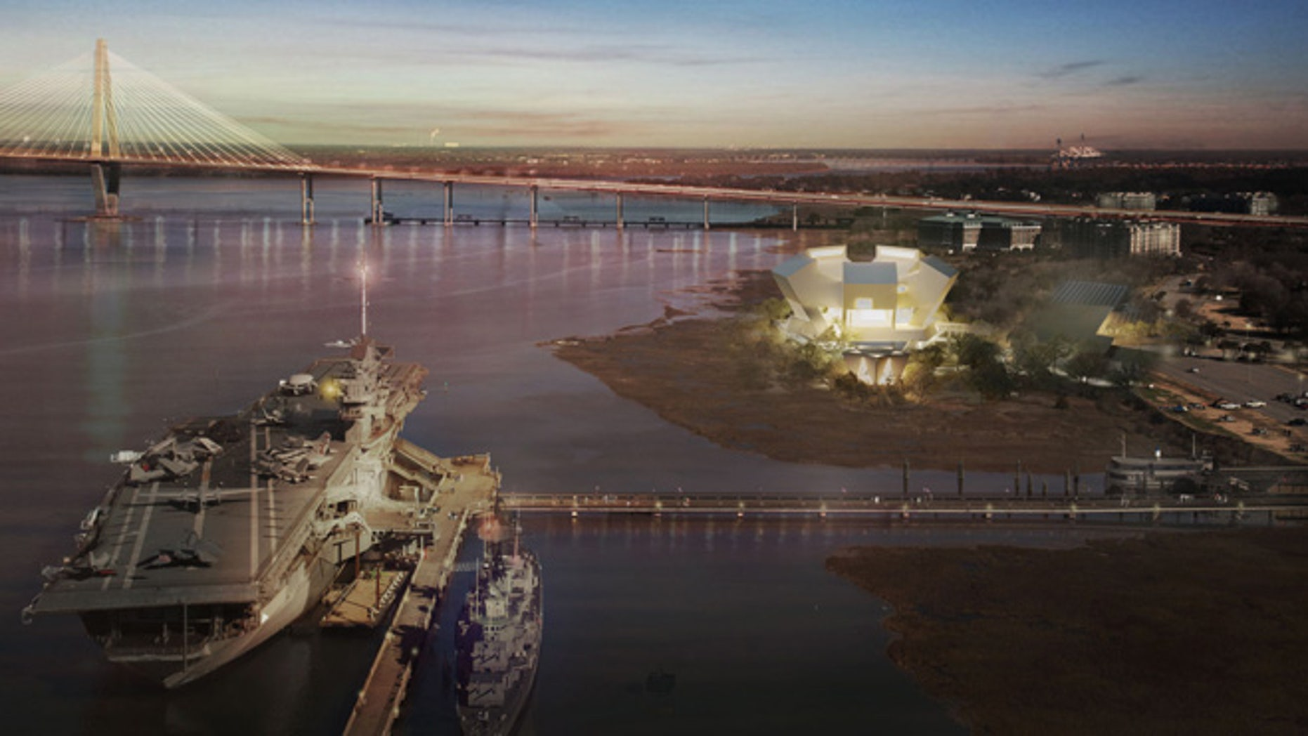 This architectural rendering shows the proposed National Medal of Honor Museum at night. The USS Yorktown is in the foreground and the Ravenel Bridge behind the museum. The star-shaped chapel can be seen directly in front of the museum building. (National Medal of Honor Museum)