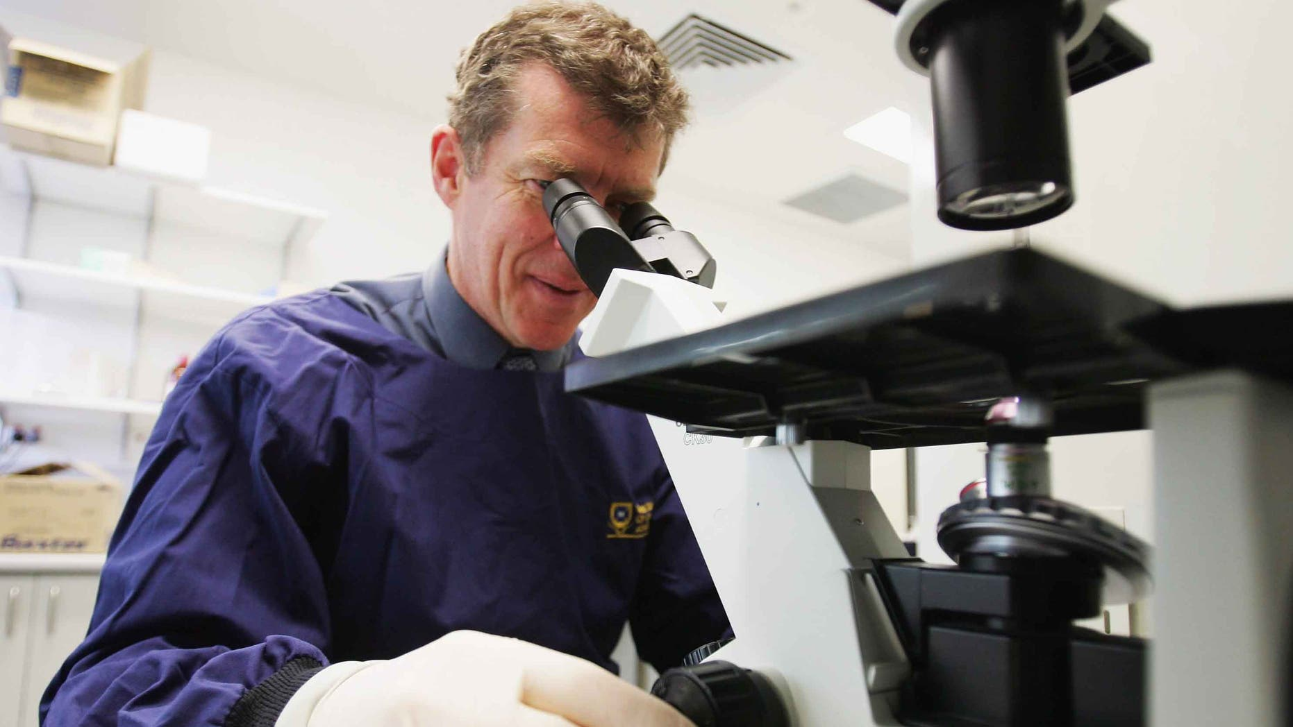 BRISBANE, QSL - AUGUST 12:  Professor Ian Frazer is pictured at work in a bio medical laboratory at the PA Hospital in Brisbane, Australia on August 12, 2005. Professor Frazer has developed a vaccine to prevent cervical cancer which in clinical trials showed the vaccine to be 95 to 100 per cent effective. The vaccine is expected to be commercially available in 2006. Cervical cancer is one of the few human cancers that is known to be directly caused by a viral infection, with more than 500,000 cases being diagnosed annually killing an estimated 275,000 women around the world every year.  (Photo by Jonathan Wood/Getty Images) *** Local Caption *** Ian Frazer