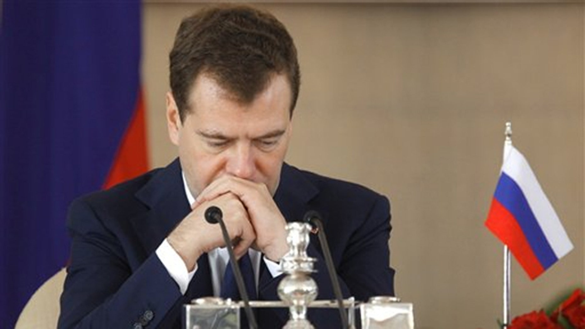 Russian President Dmitry Medvedev takes part in a news conference in New Delhi, India, Dec. 21.