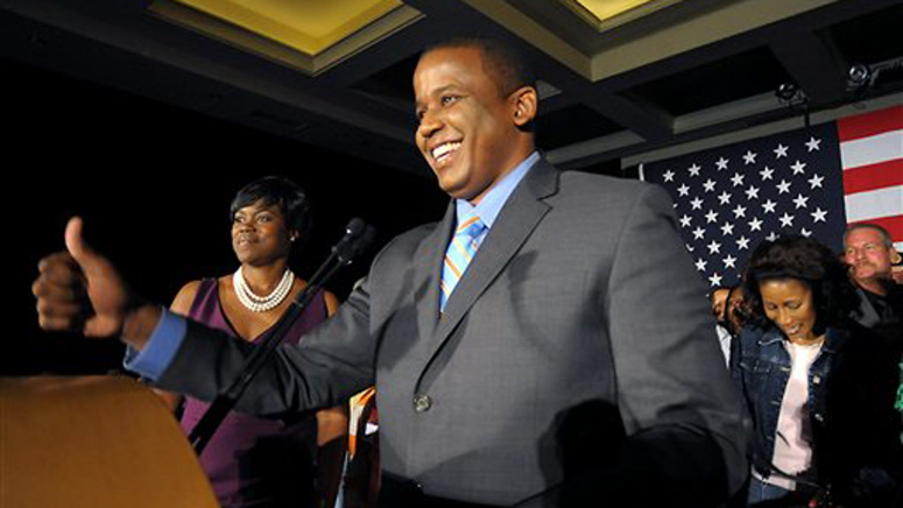 Democratic Senate candidate Kendrick Meek smiles during his victory night celebration in Hollywood, Fla., Aug. 24. (AP Photo)