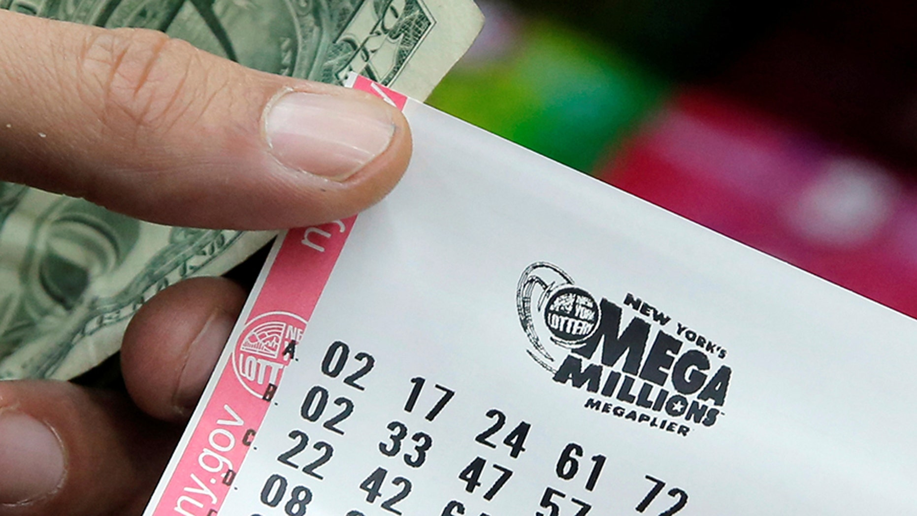 A ticket is seen ahead of the Mega Millions lottery draw in Manhattan, New York, U.S., July 1, 2016.