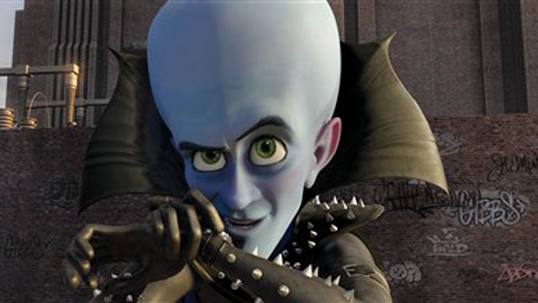 """FILE - In this film publicity file image released by Paramount and DreamWorks Animation, Megamind, voiced by Will Ferrell, is shown in a scene from the animated feature """"Megamind."""" Will Ferrell's dastardly schemes continue to succeed, with the animated """"Megamind"""" staying at the top of the box office. The DreamWorks Animation family comedy, featuring Ferrell as the voice of a super villain, made just over $30 million in its second week in theaters, according to Sunday studio estimates. It's now made nearly $90 million total. (AP Photo/DreamWorks Animation, Paramount Pictures, File)"""