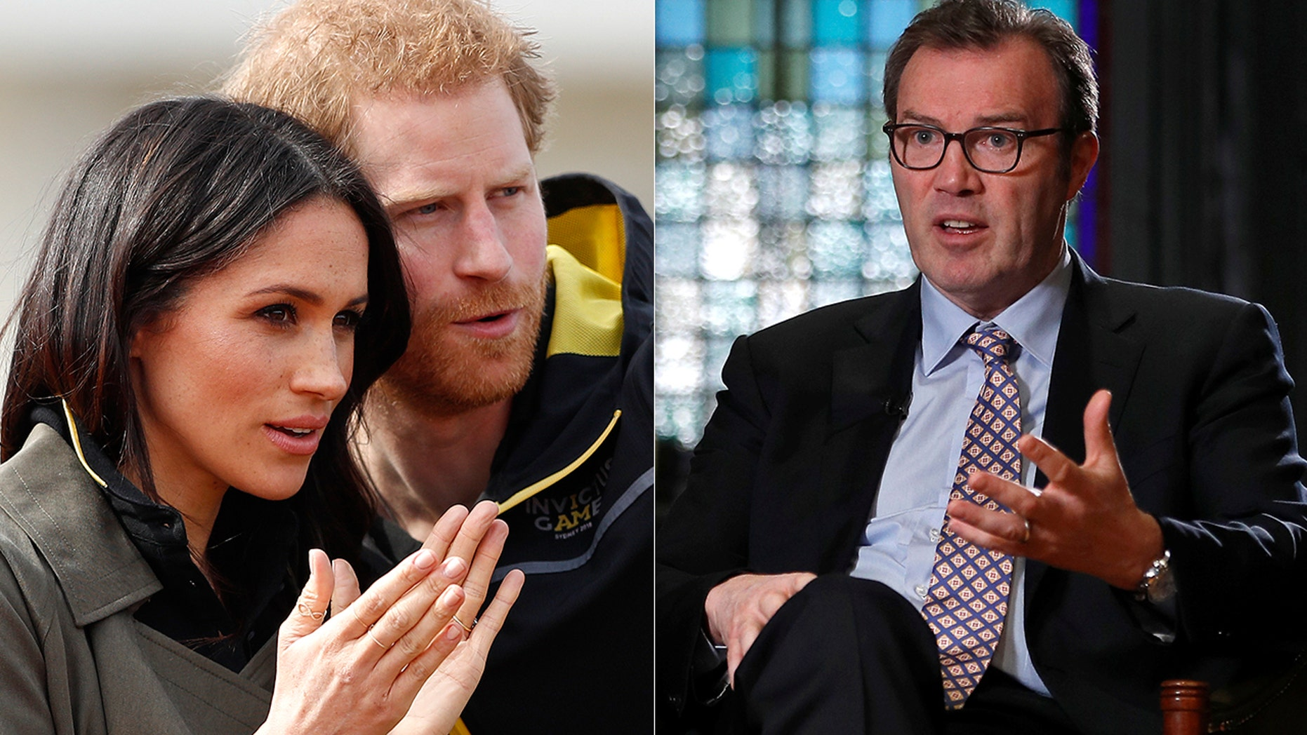 Princess Diana's biographer Andrew Morton, right, says Prince Harry's upcoming wedding to Meghan Markle is helping the image of the royal family.