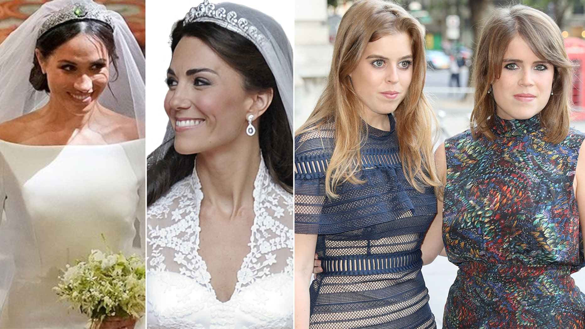 Meghan Markle and Kate Middleton wore tiaras to their weddings -- but Princesses Beatrice and Eugenie, right, will not.