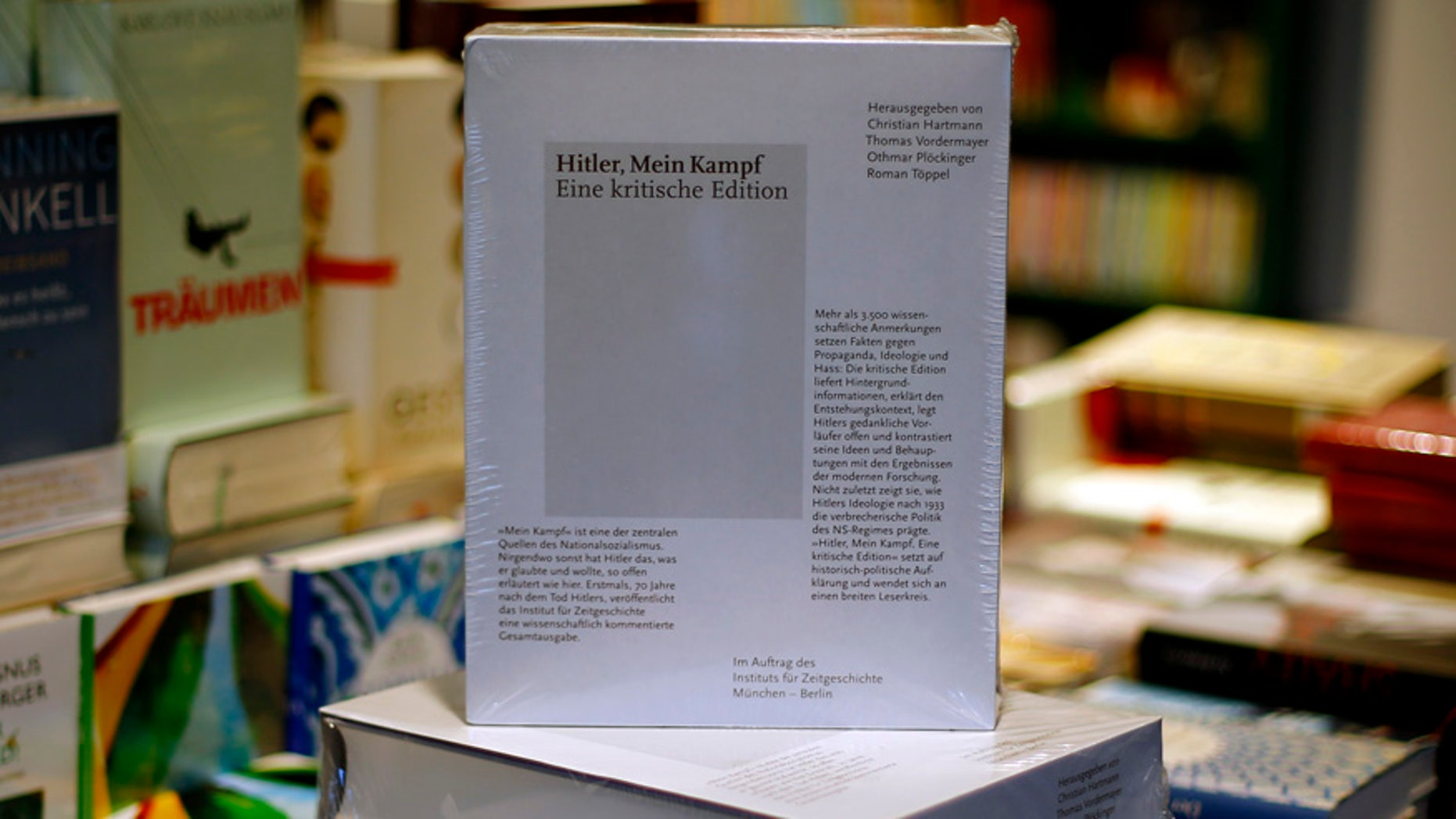 "Jan. 8, 2016: A copy of ""Hitler, Mein Kampf – A critical edition"" stands on a display table in a book shop in Munich, Germany."