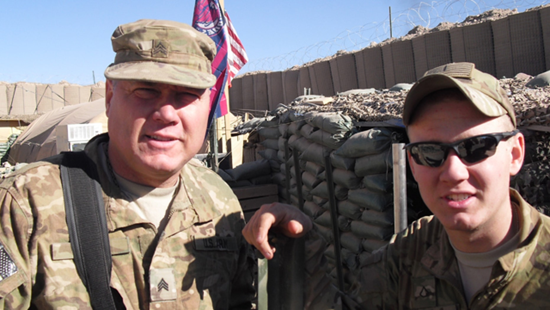 Army Sgt. Chris Meis, 47, and his 19-year-old son, Pvt. 1st Class Caleb Meis, of St. Charles, Iowa, now serve in Afghanistan in different platoons within Charlie Company 1-168, 2nd Brigade Combat Team, 34th Infantry Division.