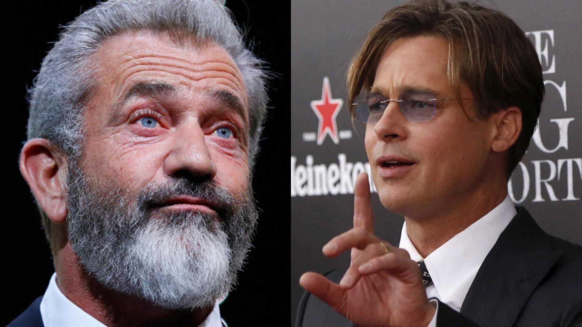 Director Mel Gibson (left) and actor Brad Pitt (right).