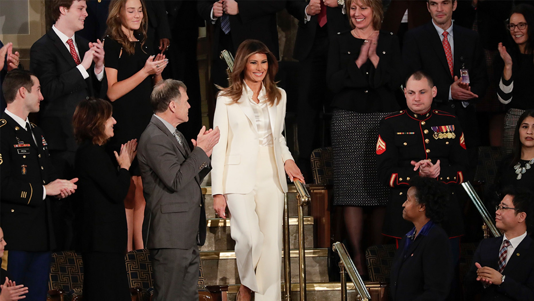 First Lady Melania Trump was all smiles as she arrived for the State of the Union.