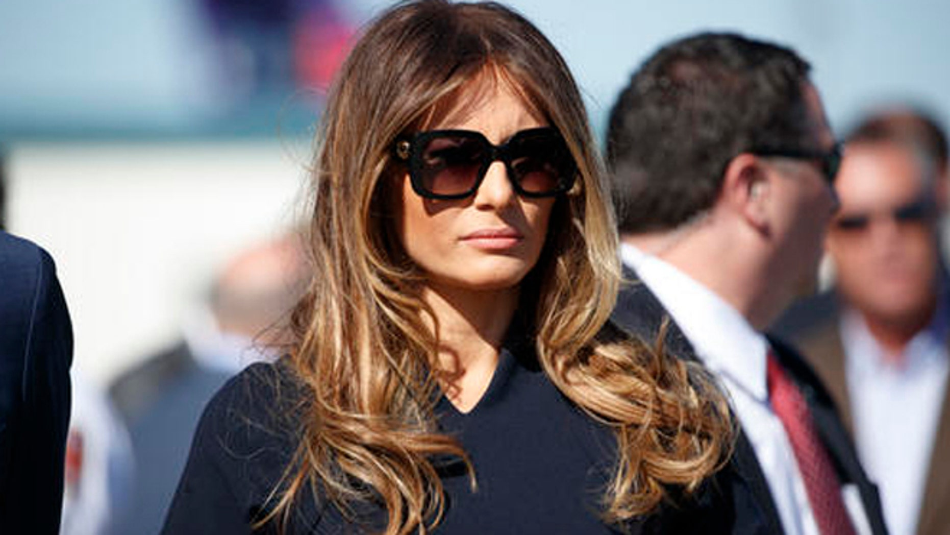 Melania Trump watches her husband, Republican presidential candidate Donald Trump, speak during a campaign rally, Saturday, Nov. 5, 2016, in Wilmington, N.C. (AP Photo/Evan Vucci)