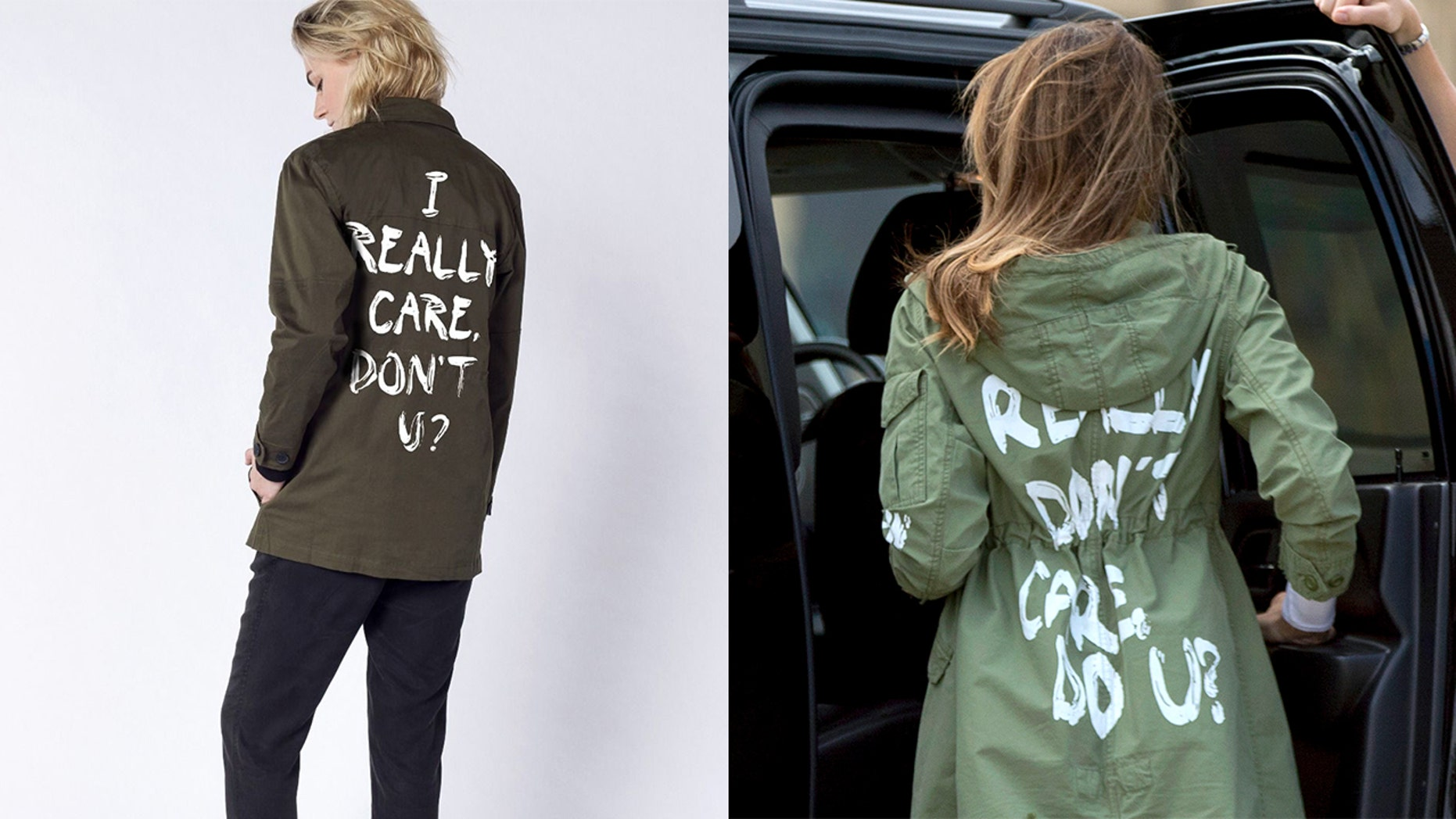 """A clothing company sold out of their charitable """"I really care"""" jacket, which they created in response to the Melania controversy."""