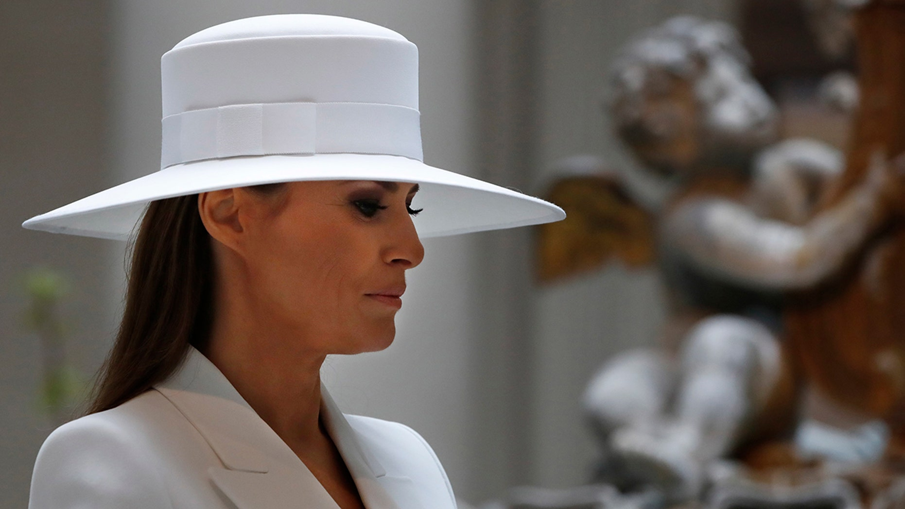 First lady Melania Trump tours the National Gallery of Art on April 24 in Washington, D.C.