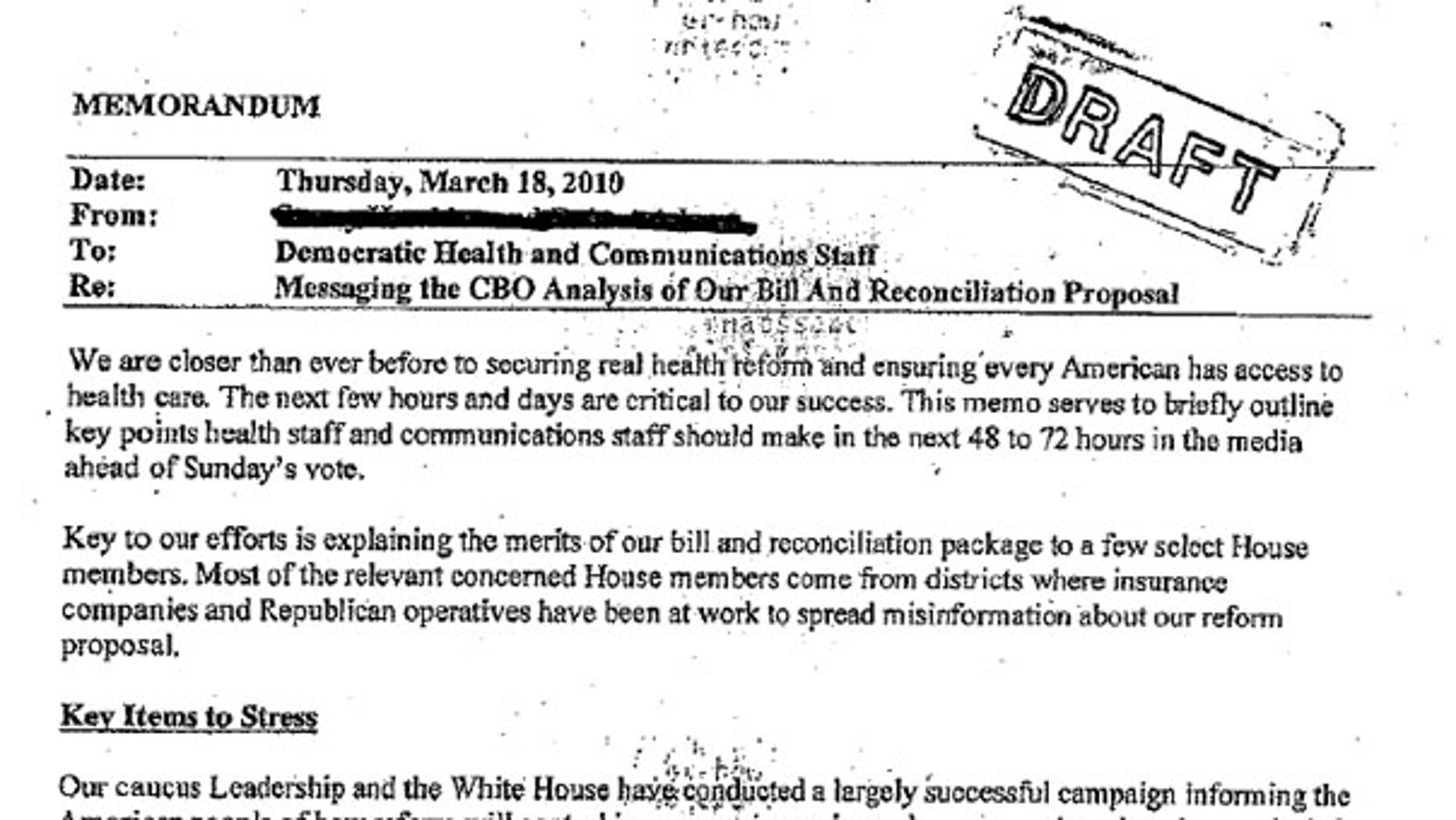 Shown here is a memo purportedly telling congressional Democrats to keep quiet on certain health care topics.