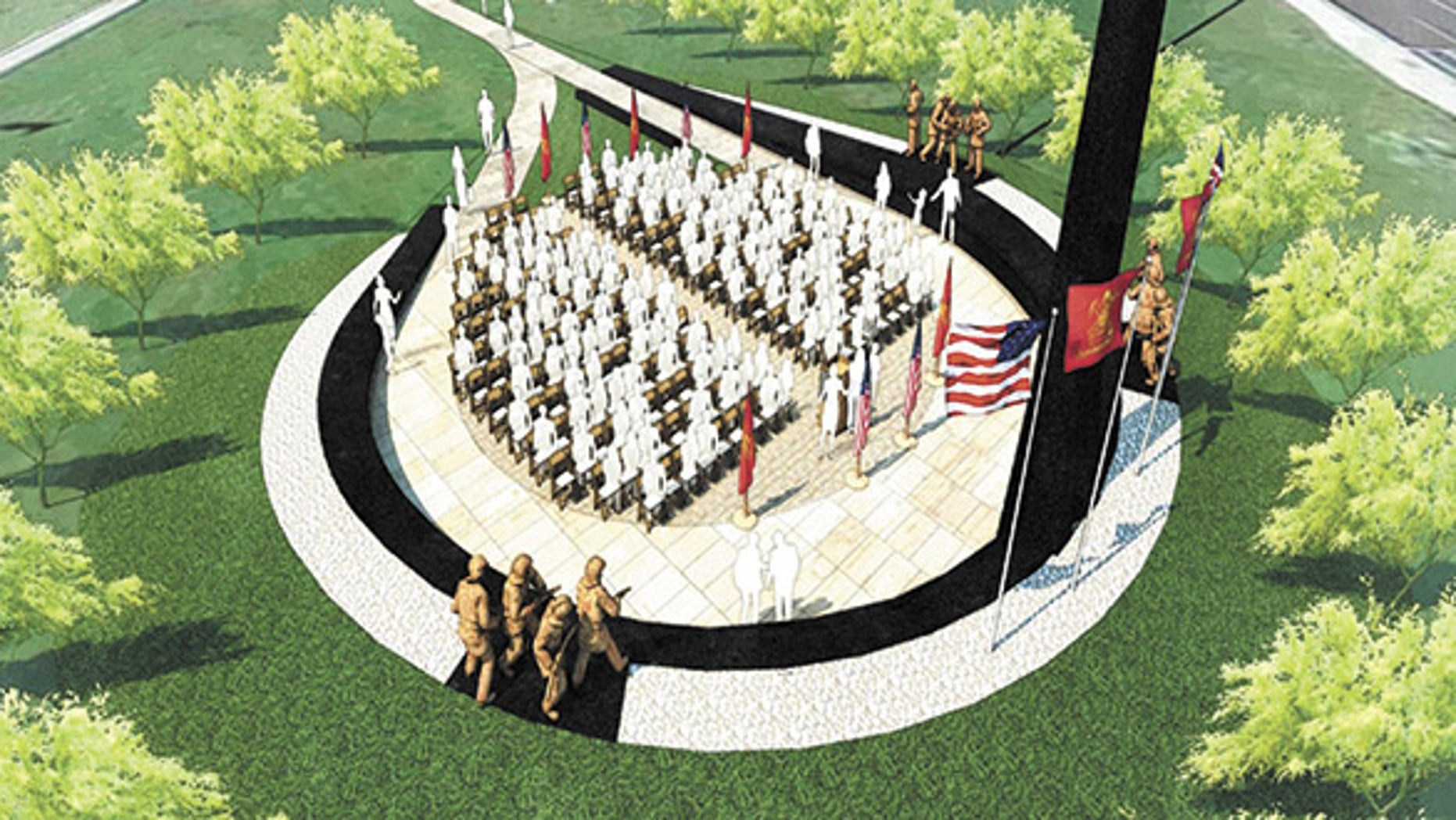 """The memorial in Phoenix will honor more than 100 firefighters and paramedics who have died on duty, including 19 members of elite """"Hotshot"""" team who were killed in a tragic 2013 brush fire. (Arizona Fallen Firefighter Memorial)"""
