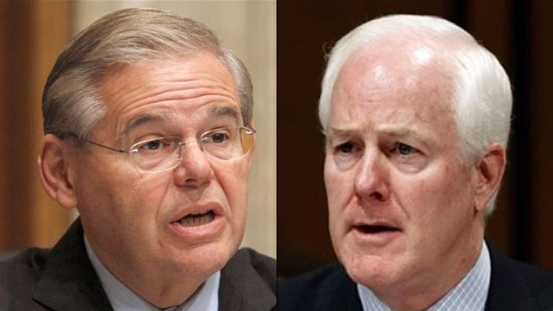Shown here are Sen. Robert Menendez, left, and Sen. John Cornyn. (AP Photos)