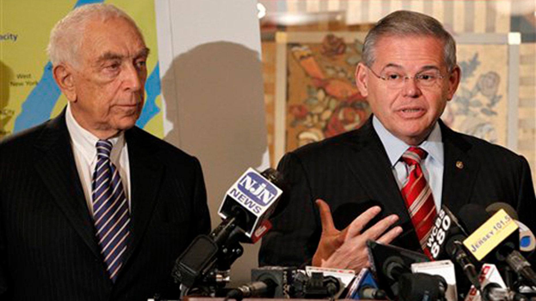 New Jersey Sens. Robert Menendez, right, and Sen. Frank R. Lautenberg.