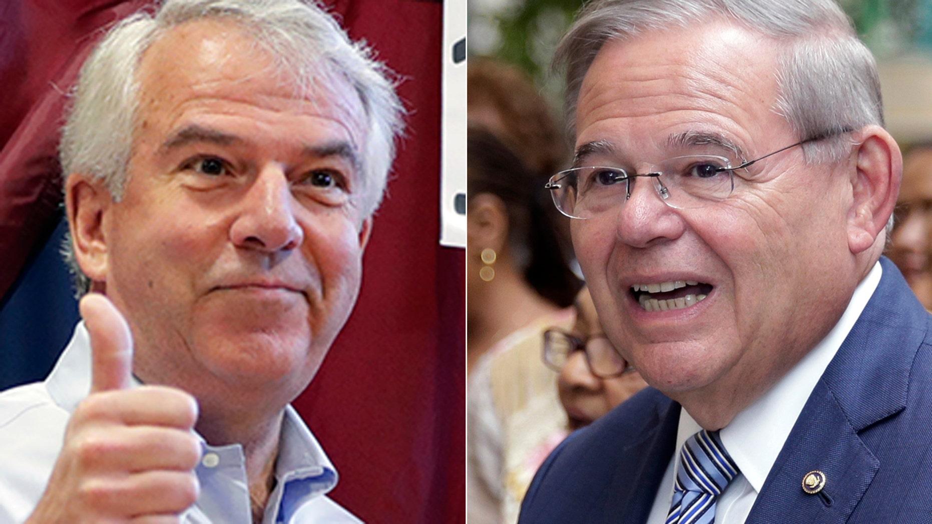 Republican Bob Hugin, left, will challenge Sen. Bob Menendez, D-N.J., in November's general election.