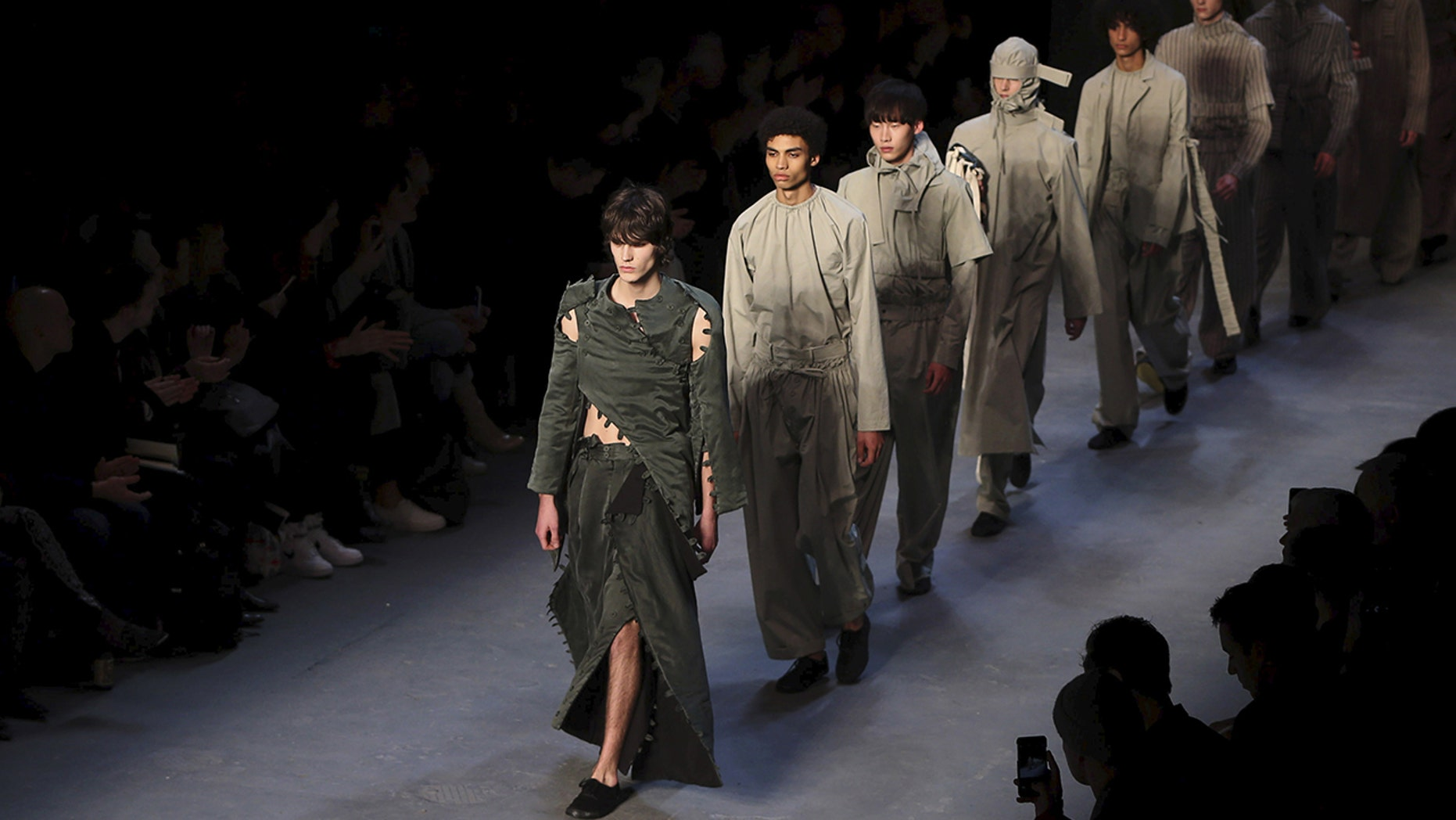 Several menswear collections debuted at the London fashion show featured men in a variety of skirts.