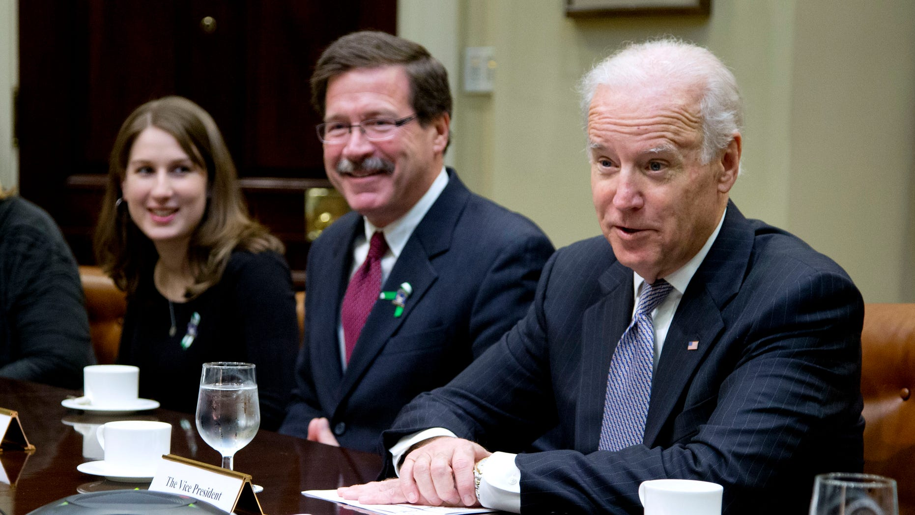 Vice President Biden speaks during a photo opportunity before a meeting with Newtown shooting family members and supporters, Tuesday, Dec. 10, 2013.