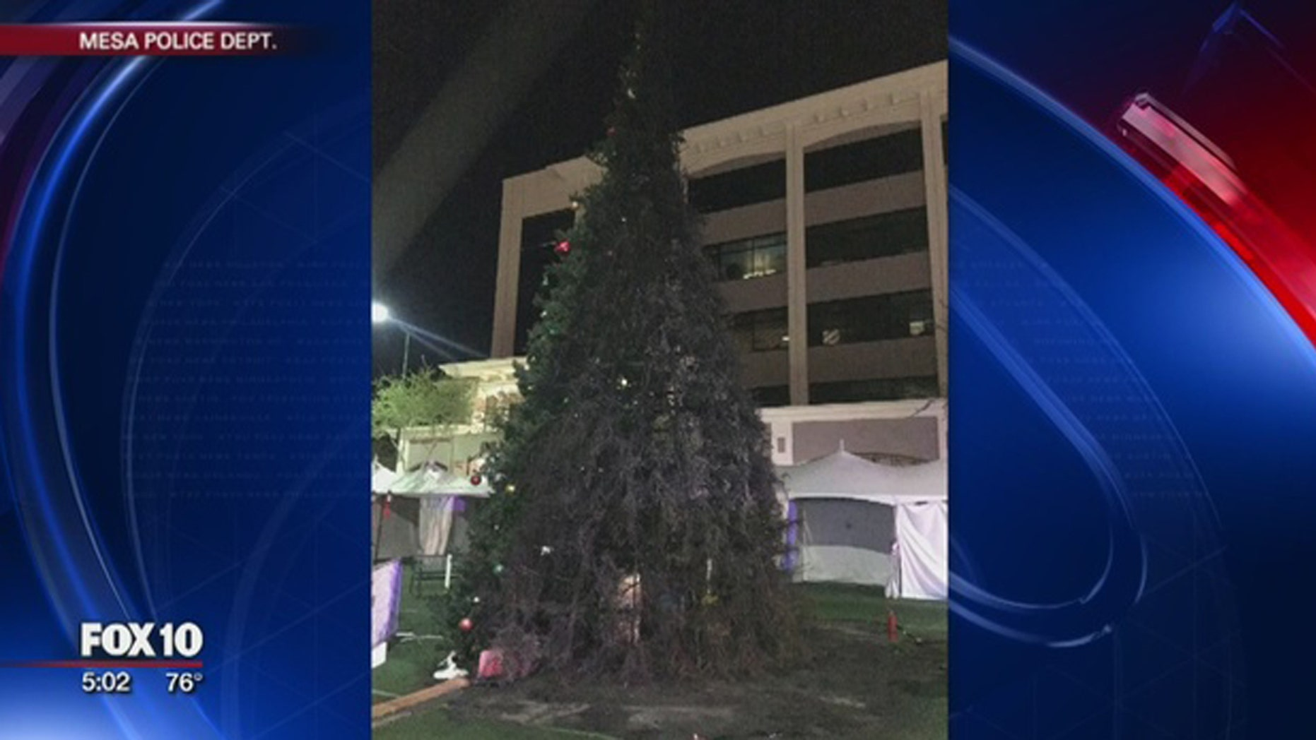 An Arizona man is accused of burning down Mesa's town Christmas tree.