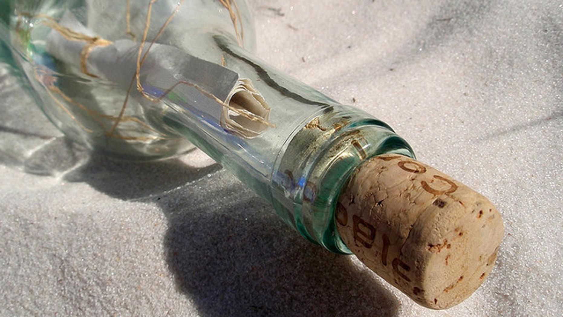 Corey Swearingen's message in a bottle successfully crossed the Atlantic.