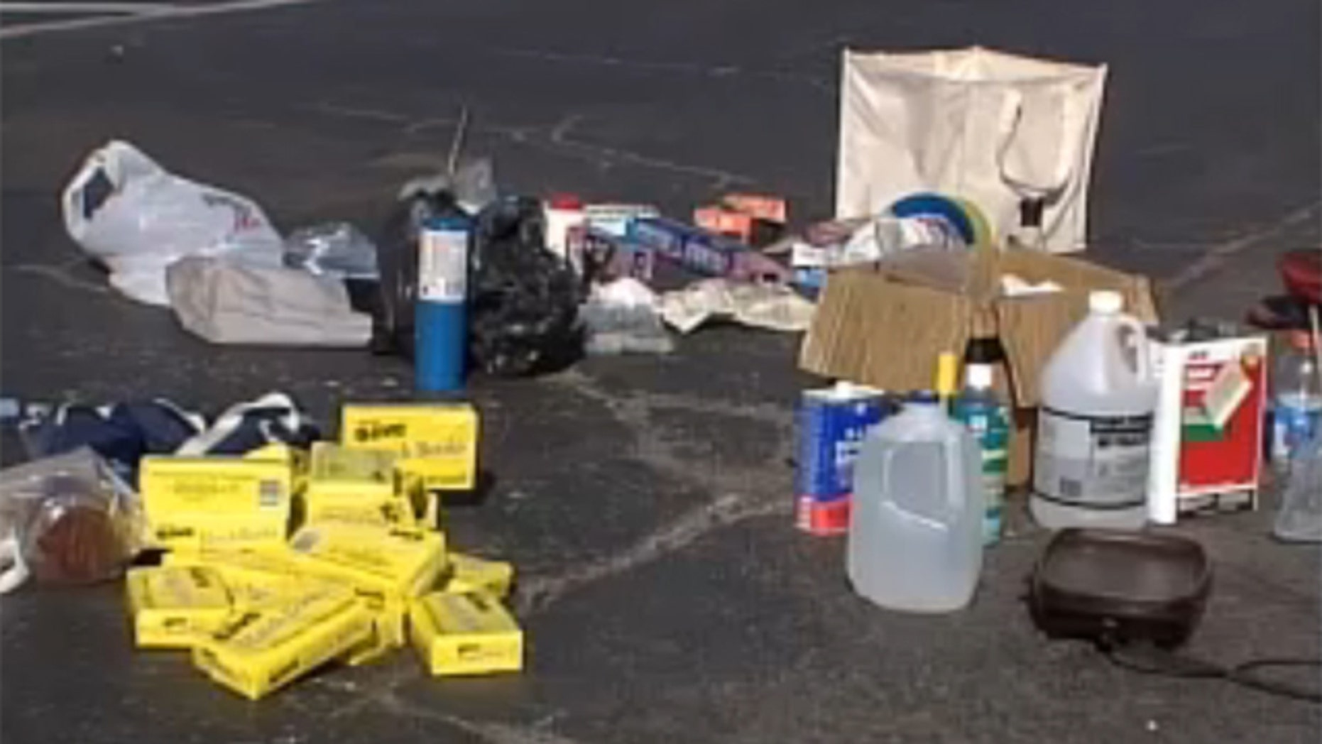A host of toxic chemicals and materials are used to produce meth. (KOKH/Fox 25)