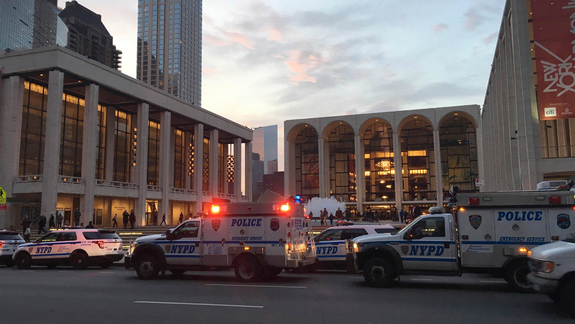 Oct. 29, 2016: Police respond to New York's Metropolitan Opera which halted a performance after someone sprinkled an unknown powder into the orchestra pit.