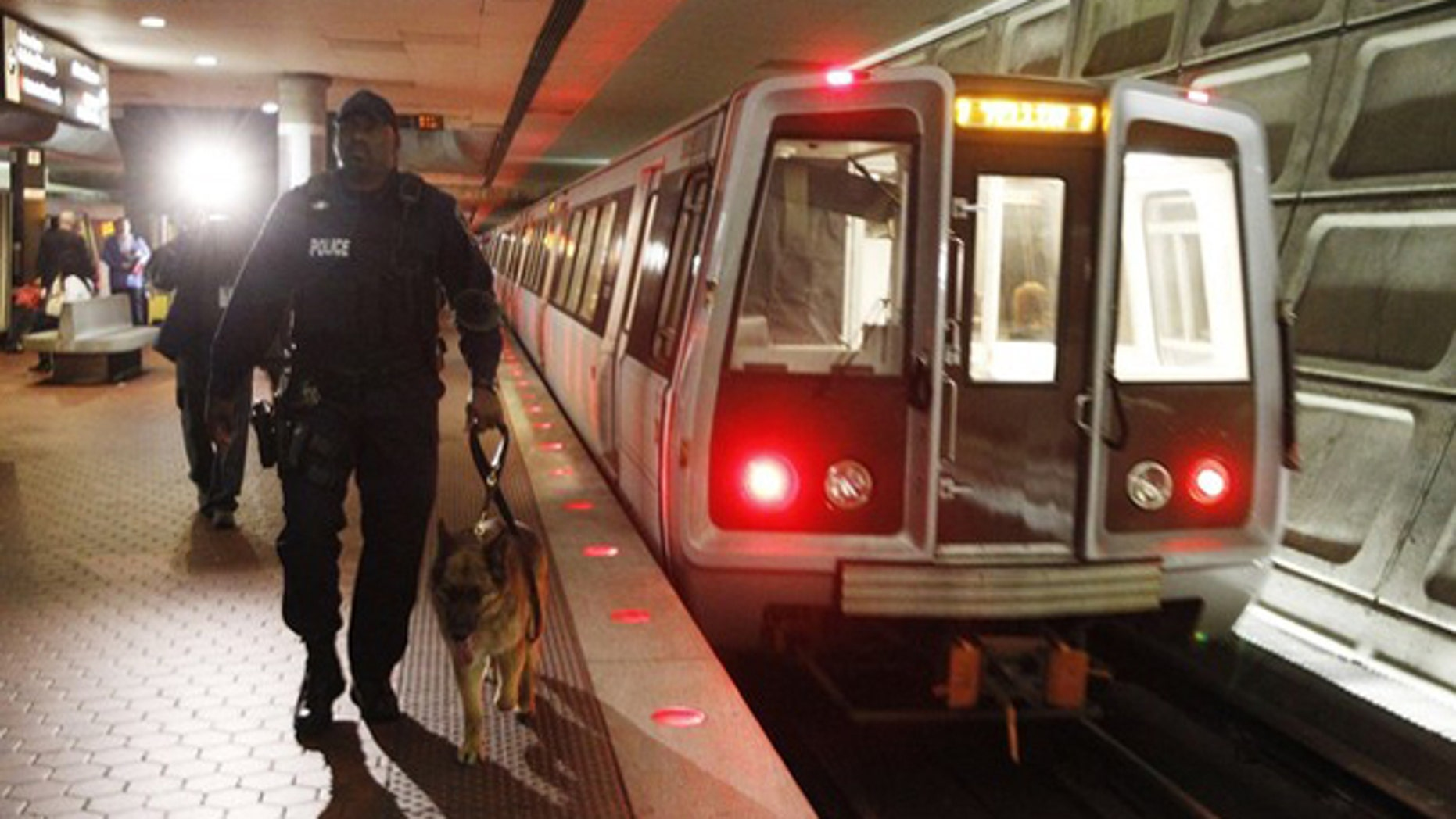 Metro Transit police officer Eric Croom and his dog inspect a Metro station in Washington, D.C., March 29. (Reuters Photo)