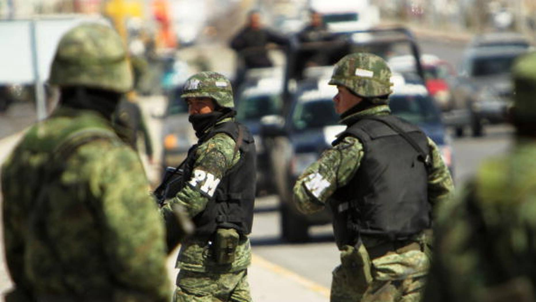 Members of the Mexican military police in Juarez, Mexico.