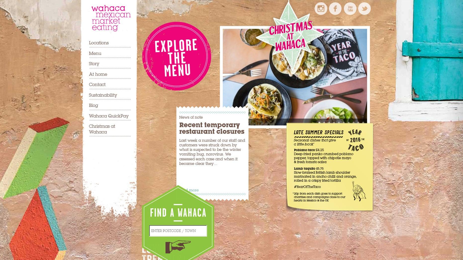 Screenshot of Wahaca restaurants website