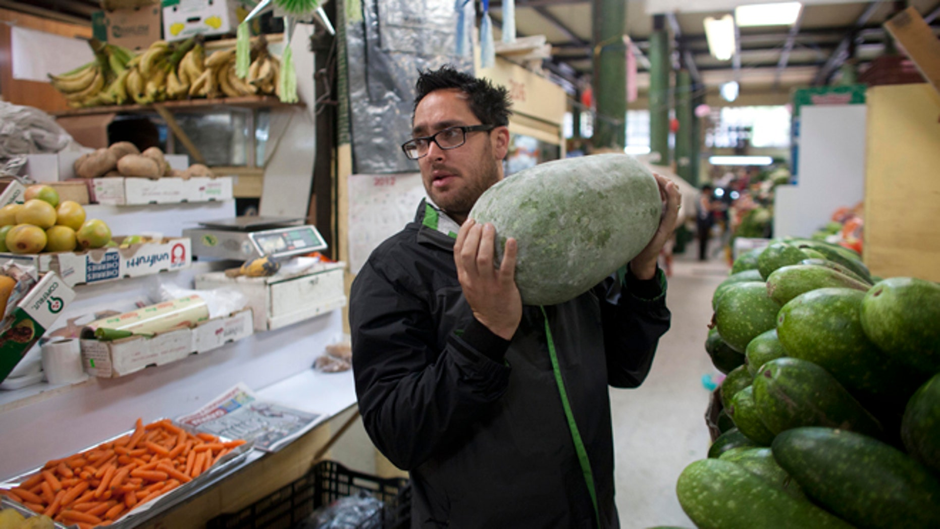 July 27, 2012: U.S. Chef Christopher Kostow at Mercado San Juan Pugibet, the most gourmet market in Mexico City.