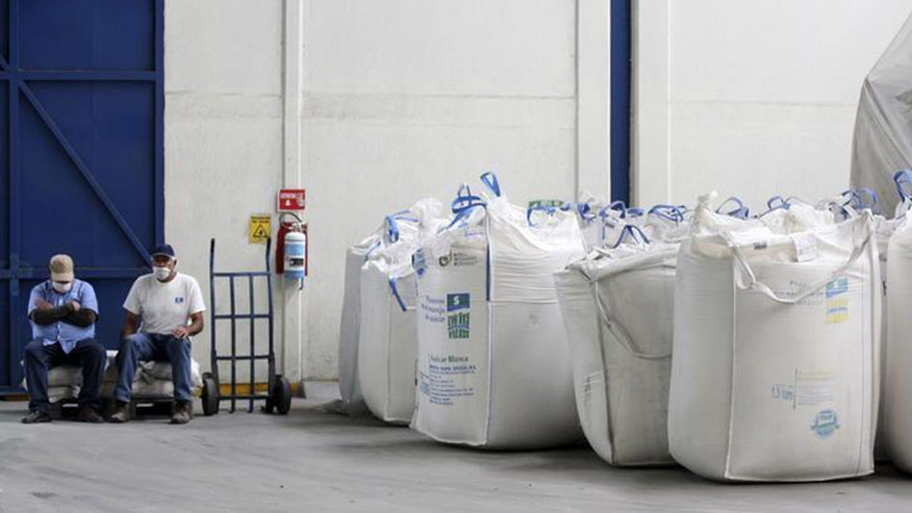 Workers sit next to bags containing sugar at the San Francisco Ameca sugar factory in the town of Ameca, Jalisco.