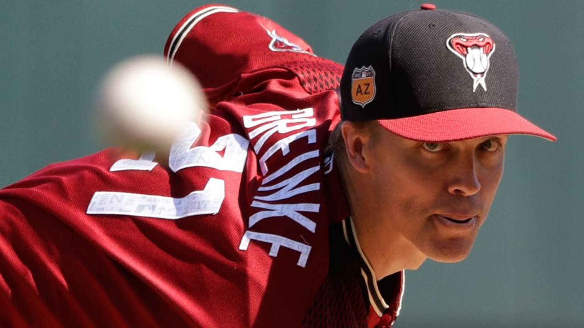 Arizona Diamondbacks' Zack Greinke throws during the first inning of an exhibition baseball game against Mexico, Wednesday, March 8, 2017, in Scottsdale, Ariz. (AP Photo/Darron Cummings)