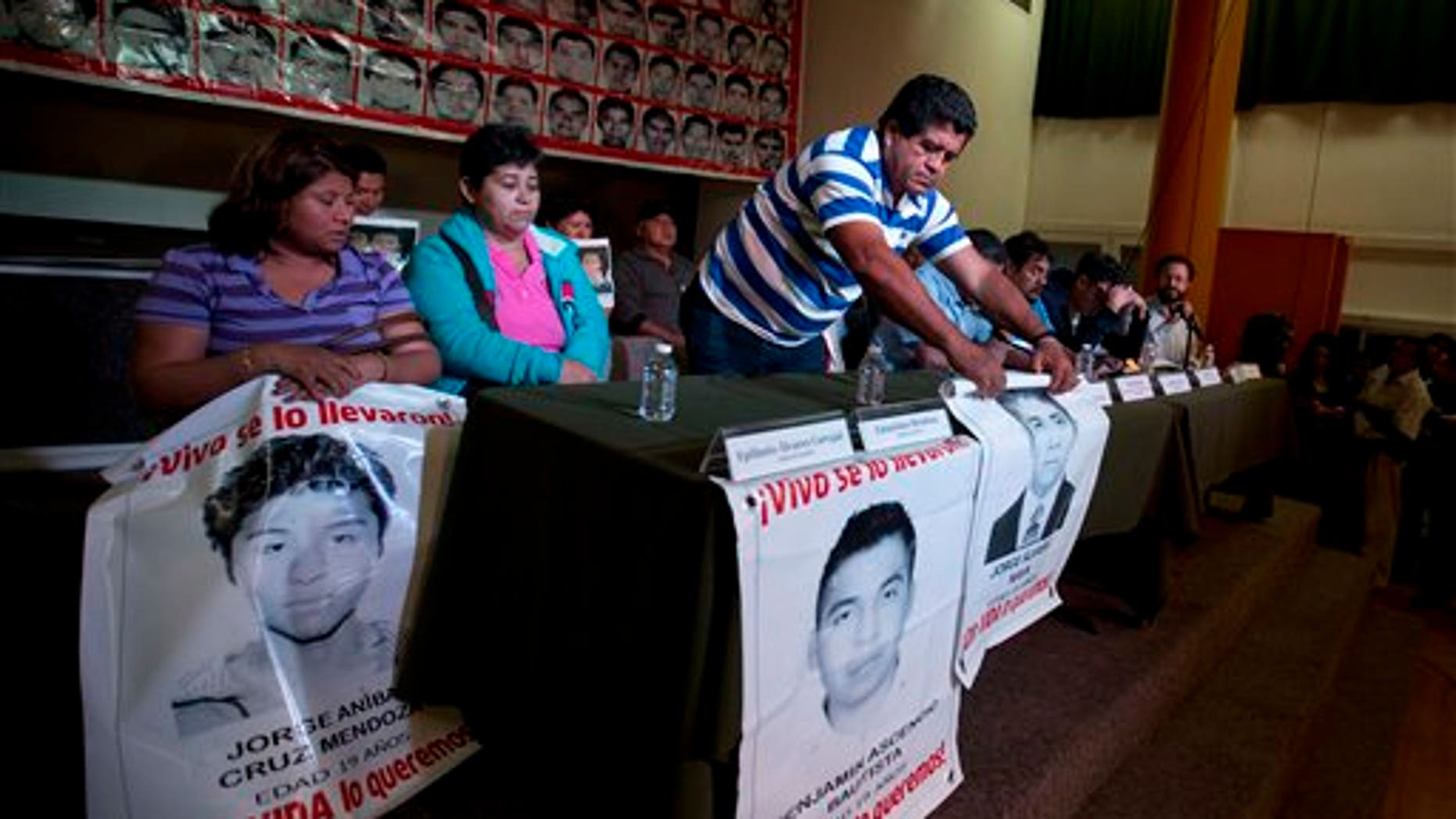 Parents of missing students attend the press conference in Mexico, City, Tuesday Jan. 27, 2015.