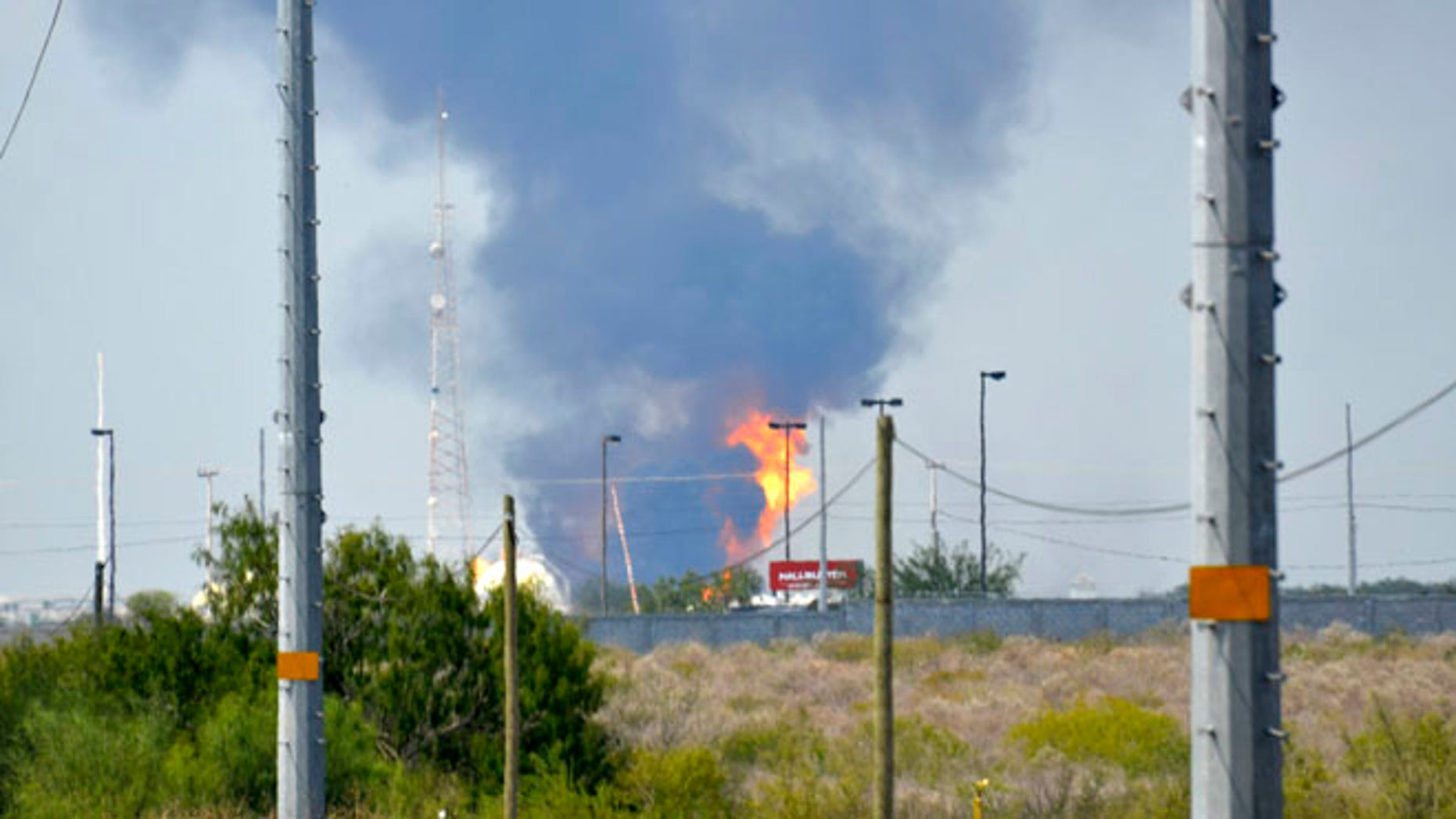 Sept. 18, 2012: Fire and smoke rise from a gas pipeline distribution center in Reynosa, Mexico near Mexico's border with the United States.