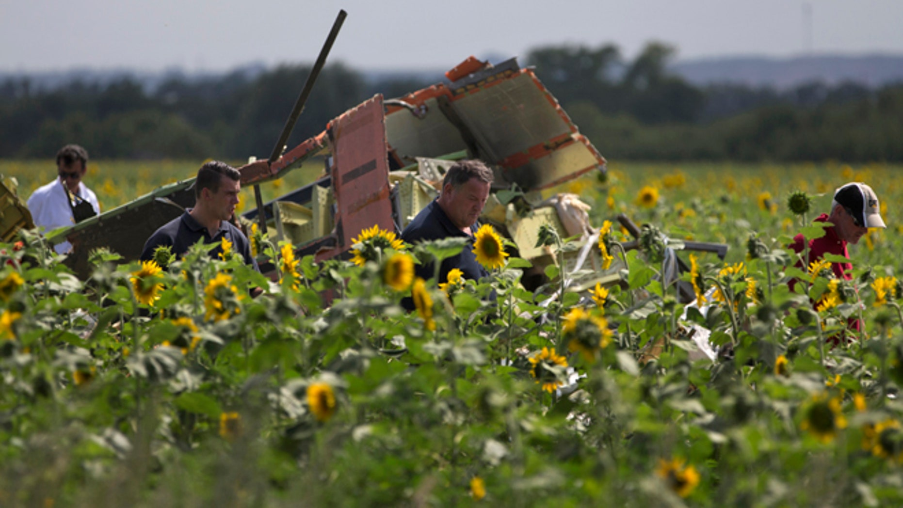July 25, 2014: Dutch and Australian investigators examine pieces of the crashed Malaysia Airlines Flight 17 in the village of Rassipne, Donetsk region, eastern Ukraine.