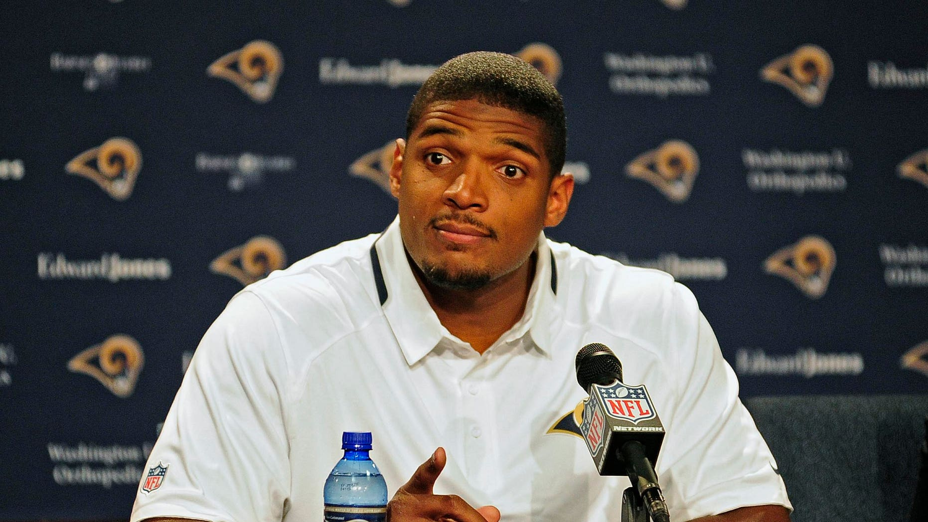 May 13, 2014. St. Louis Rams seventh round pick defensive end Michael Sam talks with the media during a press conference at Rams Park.