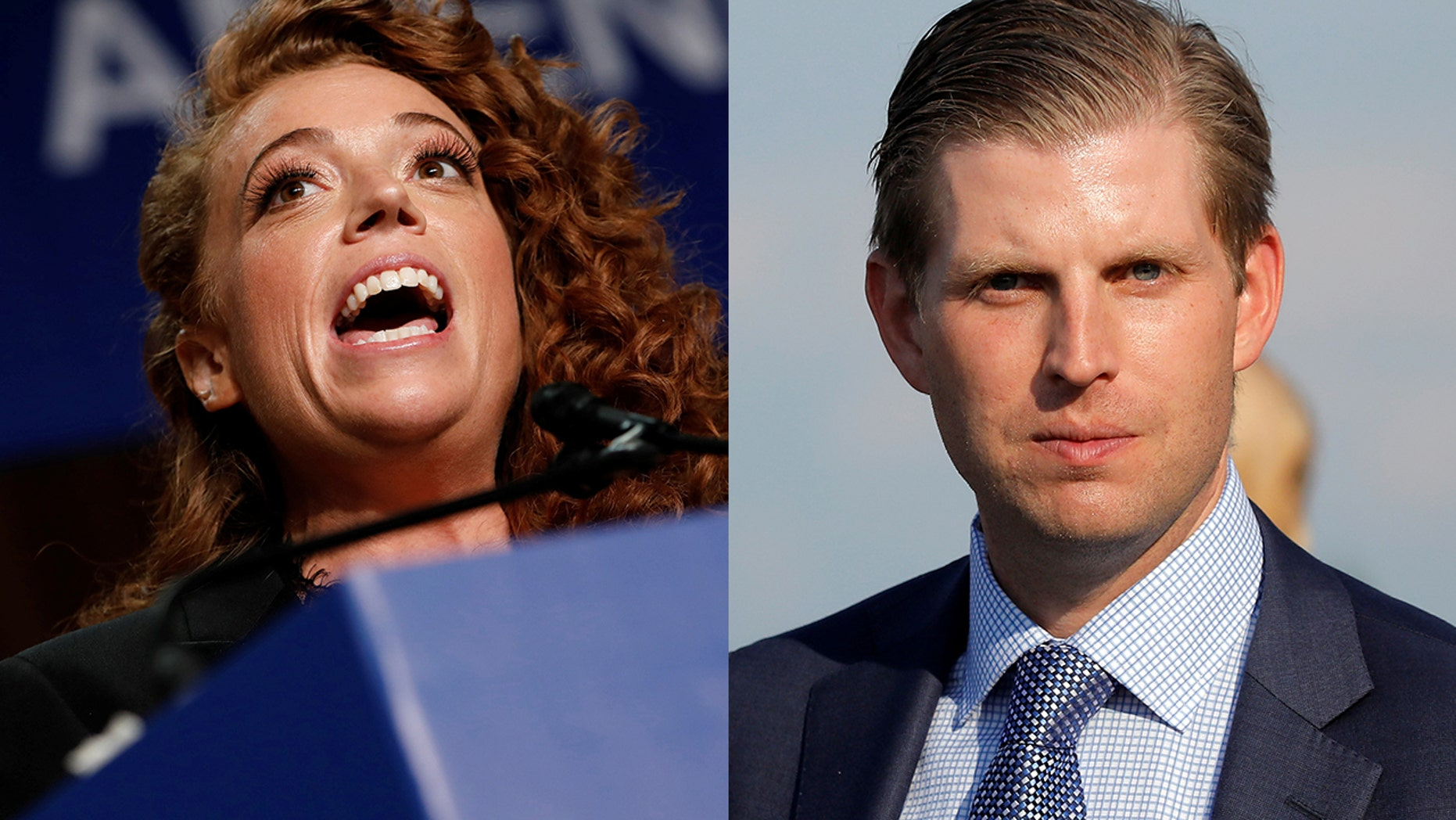 "Comedian Michelle Wolf (left) reportedly called Eric Trump ""an abortion"" in a since-deleted tweet."