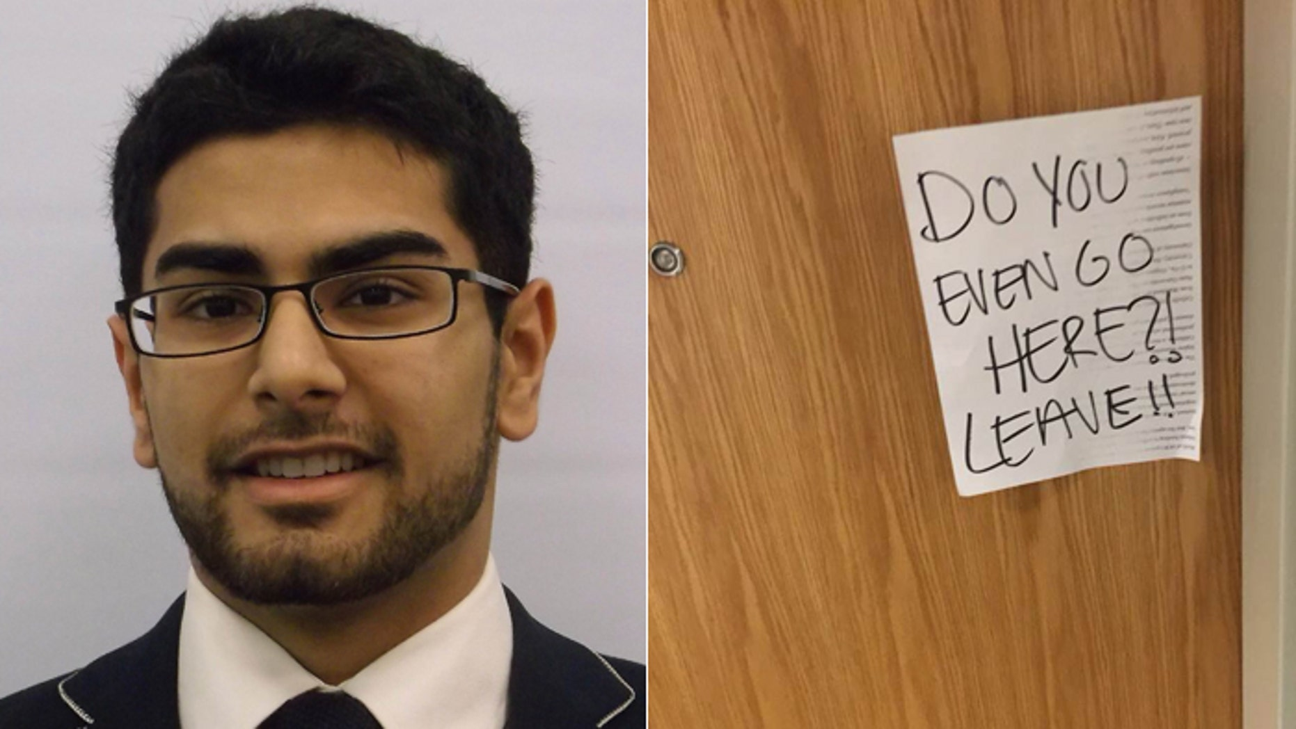 Of all the notes Omar Mahmoud said were affixed to his campus apartment, the one on the right is one of the tamest.