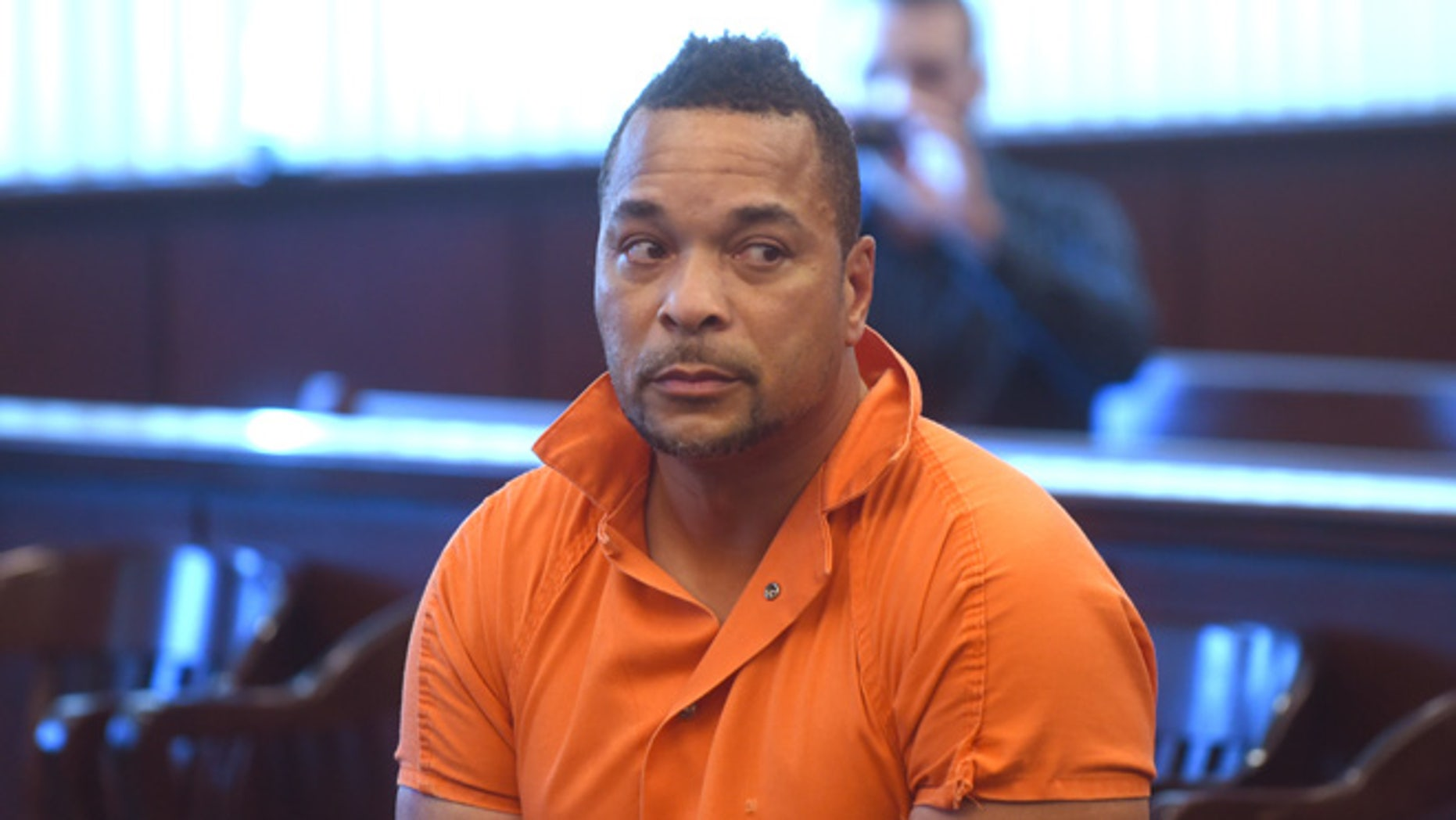 Gregory Green is arraigned in 20th District Court in Dearborn Heights, Mich., on Thursday Sept. 22, 2016.  Green is suspected of killing two young children and two teenagers and critically injured his wife at his at his Detroit-area home. (Max Ortiz/The Detroit News via AP)
