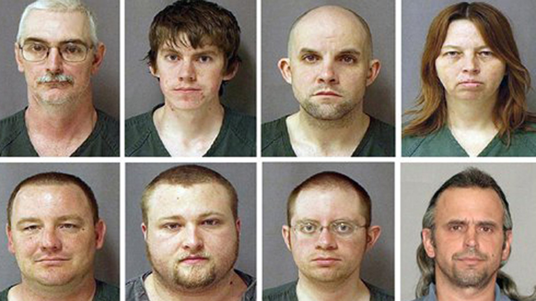 March 29, 2010: This combo of eight photos provided by the U.S. Marshals Service on shows from top left, David Brian Stone Sr., 44, of Clayton, Mich,; David Brian Stone Jr. of Adrian, Mich,; Jacob Ward, 33, of Huron, Ohio; Tina Mae Stone and bottom row from left, Michael David Meeks,  40, of Manchester, Mich,; Kristopher T. Sickles, 27, of Sandusky, Ohio; Joshua John Clough, 28, of Blissfield, Mich.; and Thomas William Piatek, 46, of Whiting, Ind., suspects tied to Hutaree, a Christian militia.