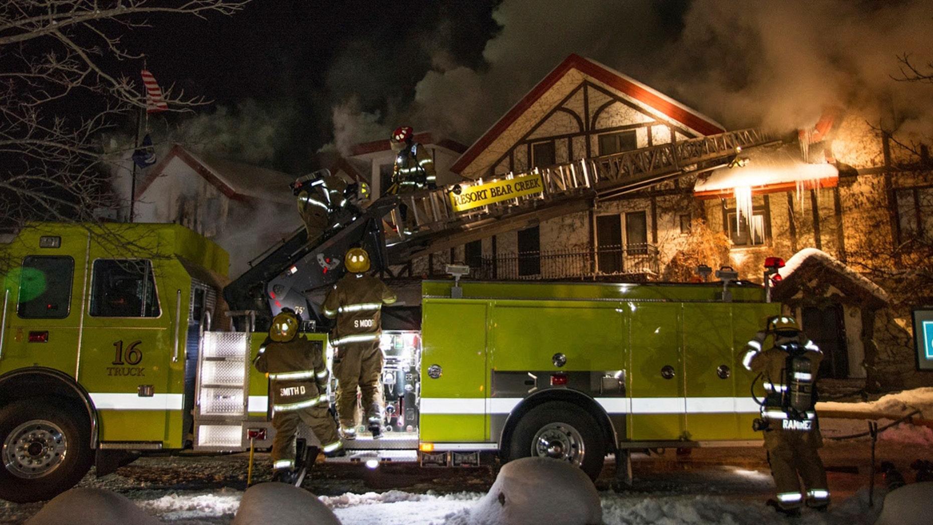 Dec. 11, 2016: Firefighters extinguish a blaze at Boyne Highlands Resort in Harbor Springs, Mich.
