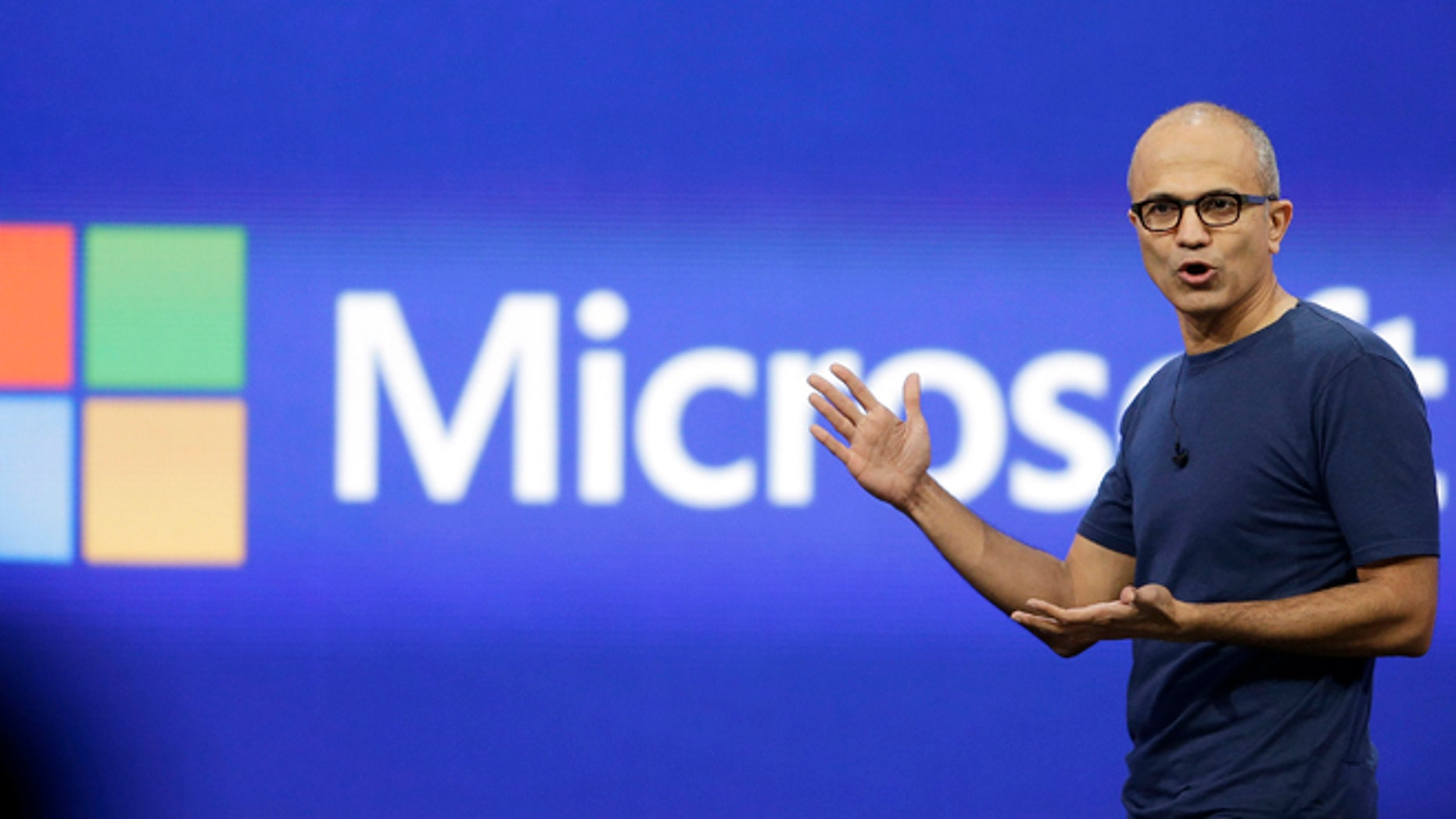April 2, 2014: Microsoft CEO Satya Nadella gestures during the keynote address of the Build Conference in San Francisco.