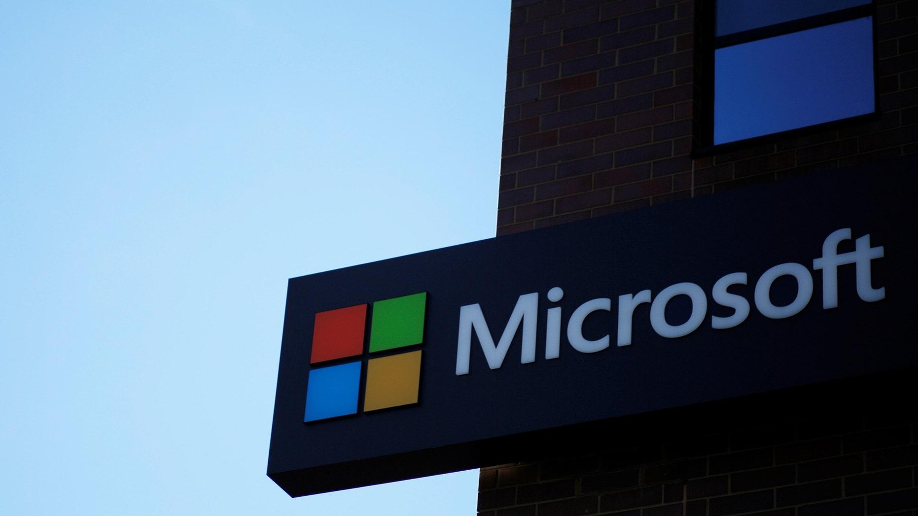 File photo: A pointer outlines a Microsoft bureau in Cambridge, Massachusetts, U.S. Jan 25, 2017. (REUTERS/Brian Snyder)