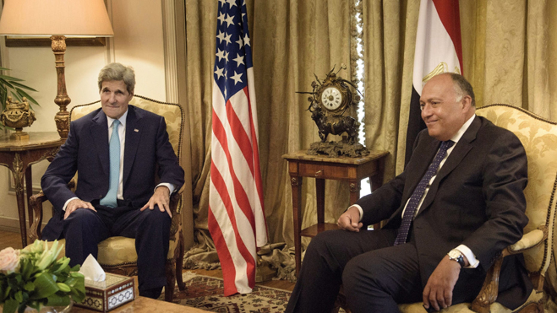 Aug. 2, 2015: U.S. Secretary of State John Kerry, left, speaks with Egypt's Foreign Minister Sameh Shoukry, before a meeting at the Ministry of Foreign Affairs in Cairo, Egypt.